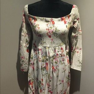 Floral Print Smocked Bell Sleeve Dress